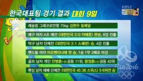 대회 9일 한국 경기결과 이미지